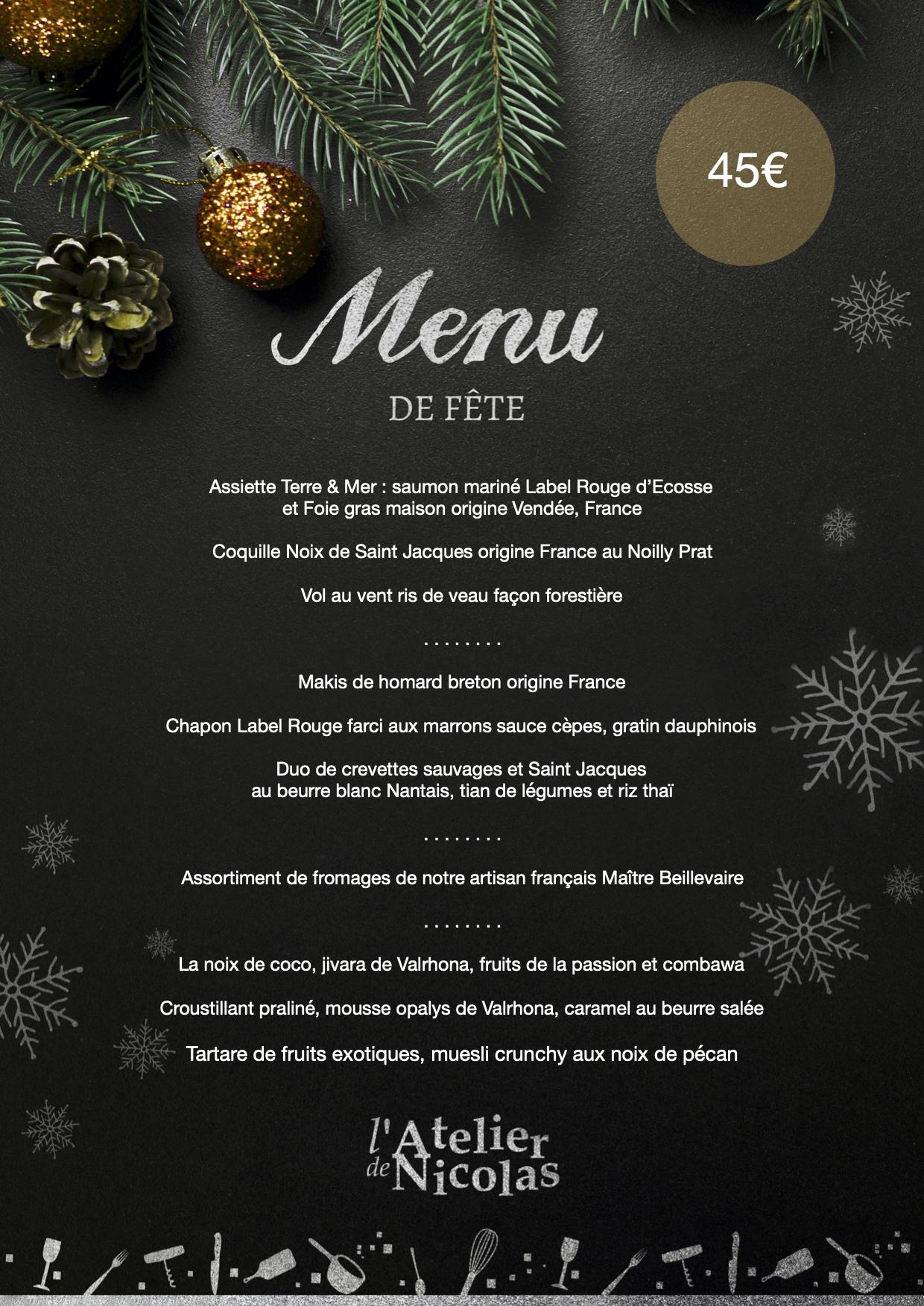 Menu de fête de l'Atelier de Nicolas à Aigues-Mortes - Vente à emporter pour le 24 décembre et le 31 décembre 2020